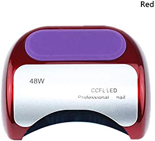 Arzoe 48W CCFL UV Nail Dryer Lamp for Gel Nail Polish Nail Curing Light with Sensor,3 Timer Setting, UV Gel Nail Lamp for Fingernails Toenails Manicure/Pedicure (Red)