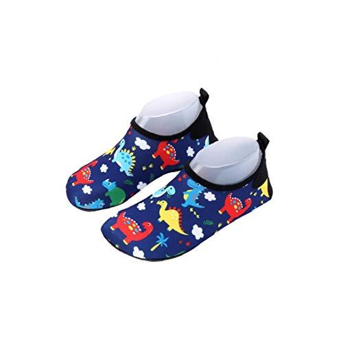 Zapatos 17.3cm del Agua del Cabrito Descalzo de natación Zapatos de la Historieta del Modelo del Dinosaurio Anti Slip Zapatos de Secado rápido Playa Zapatos Compatible con la Piel de la Playa de