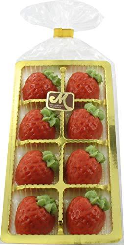 Odenwälder Marzipan Erdbeerrelief. 8 Stück in einem Tiefziehteil.