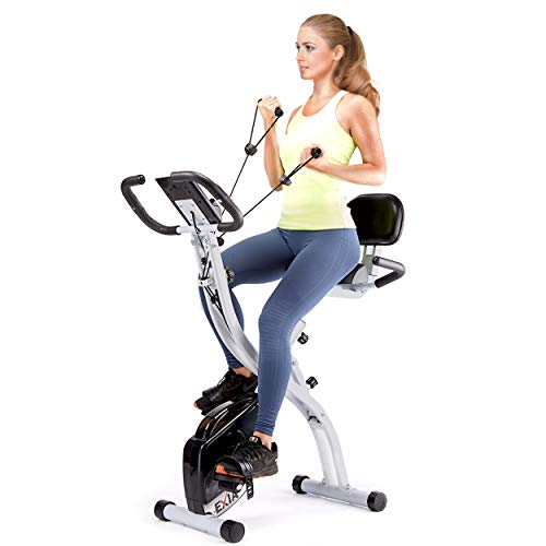 EXIA Folding Magnetic Exercise Bike with Pulse Sensor, Upright and Recumbent Stationary Bike with Arm Resistance Bands Ropes, 3 in 1 Cycling Indoor Trainer, Perfect for Indoor, Men, Women, and Senior