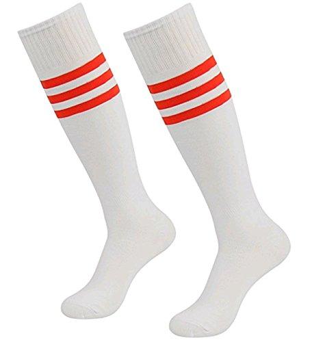 Skyeye Männer Dame Fußball Socken Mädchen Strümpfe Damen Kniestrümpfe Retro Jungen und Mädchen Sportsocken Zum Kinder Blau und Rot Streifen Katze Stil Size 35cm (Weiß A)