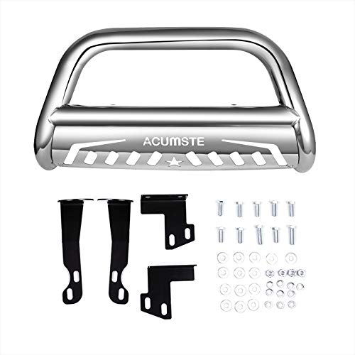 ACUMSTE Bull Bar Stainless Steel Front Bumper Brush Guard with Skid Plate Off Road 3' (Sliver)