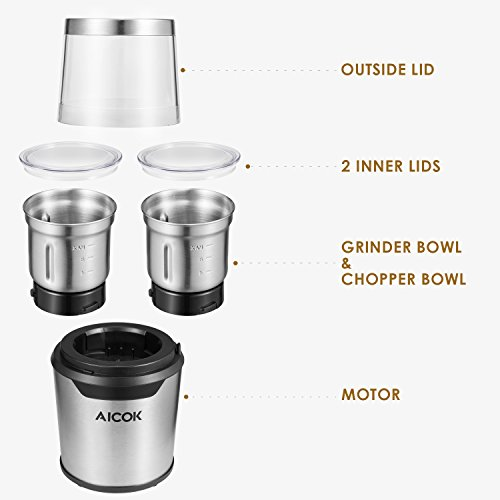 Aicok Electric Coffee Grinder Stainless Steel Blades Coffee Grinder and Wet/Dry Spice Grinder Combo Pack, Removable Two Bowls with Large Capacity and Powerful Motor, 200W