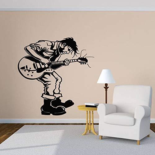 Creativity Music boy Wall Decal Music Melody Rock Guitarist Wall Sticker Vinyl Wall Decoration Mural for Room Decoration Design