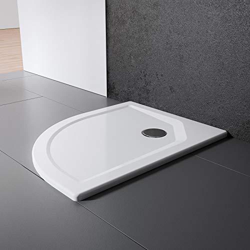 Schulte Duschwanne 90x90 cm, rund extra-flach 3,5 cm, Radius 550 mm, Sanitär-Acryl alpin-weiß, inkl Ablauf und Füßen