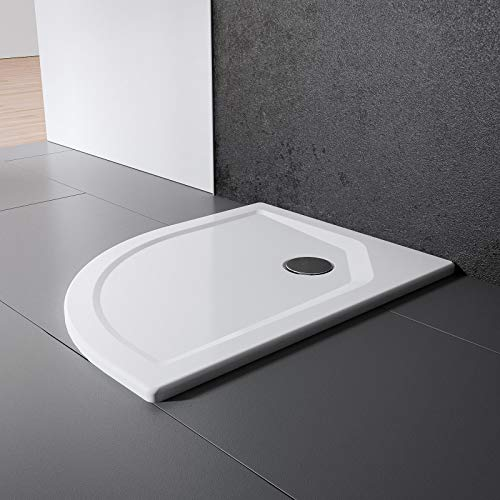 Schulte Duschwanne 100x100 cm, rund extra-flach 3,5 cm, Radius 550 mm, Sanitär-Acryl alpin-weiß, inkl Ablauf und Füßen