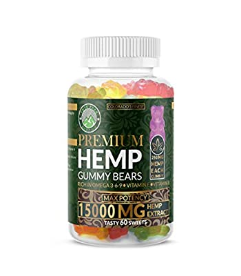 Hemp Gummies Premium 15000 Milligram High Potency- 250 Per Fruity Gummy Bear - Stress Relief, Inflammation, Pain, Restful Sleep, Anxiety, Rich in Omega 3-6-9. Vitamin E and Vitamin B by Twin Peaks