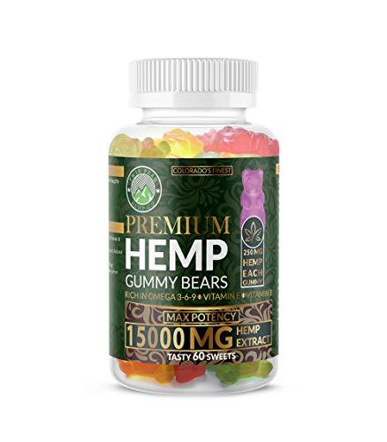 Hemp Gummies Premium 15000 Milligram High Potency- 250 Per Fruity Gummy Bear - Rich in Omega 3-6-9. Vitamin E and Vitamin B