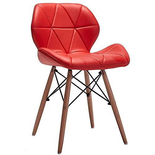 N&O Renovation House Chair Sillas de Comedor de diseño Moderno Silla para computadora Patas de Madera Maciza Asiento tapizado con Respaldo Adecuado para sillones de Oficina en casa (Color: Marrón)