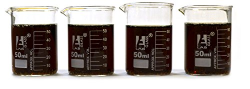 Eisco Labs Beaker Shot Glasses - 1.6oz/50mL - Lab Quality Borosilicate Glass - Set of 4
