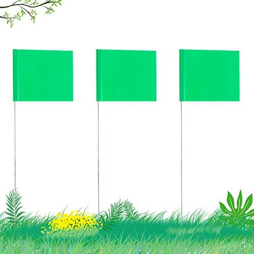 AIEX 5,1x7,6cm 42 Stück Markierungsfahnen mit 35cm Stahlmast Vinyl Pfahlflagge für Industrie Unterirdische Versorgungsunternehmen Landschaftsgestaltung Vermessung Haustiergrenze (Grün)