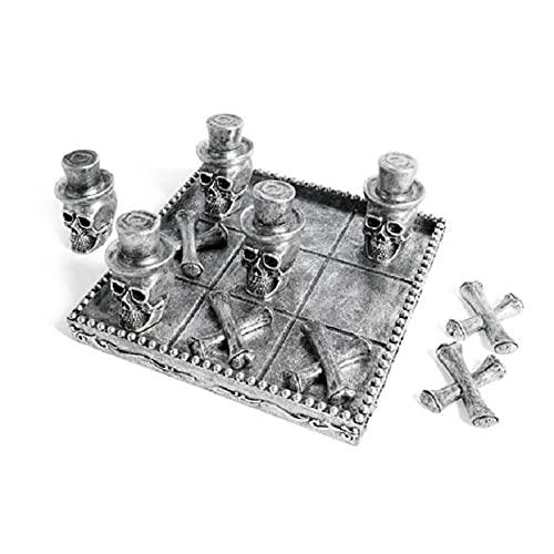 N\ A Totenkopf Tic-Tac-Toe Brett Puzzle Spiel Halloween Skelett Schachbrett Geschenk Familienfeier Tolle Geschenke Für Alle Gelegenheiten 20×20×7cm/Totenkopf Tic-Tac-Toe Board