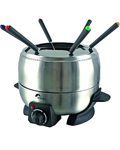 Ohmex OHM-FND-1000S - Hornillo de fundición, 800 W, termostato regulable, 6 tenedores para fondua-sartén, antiadherente, 2 l metálico