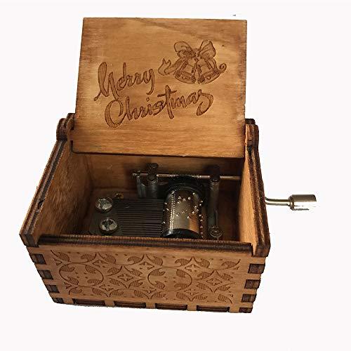 MINGZE Manovella in Legno Music Box meccanismo, varietà di Stili Carillon Creativo Personalizable, Best Gift for Kids Friends (Merry Christmas)