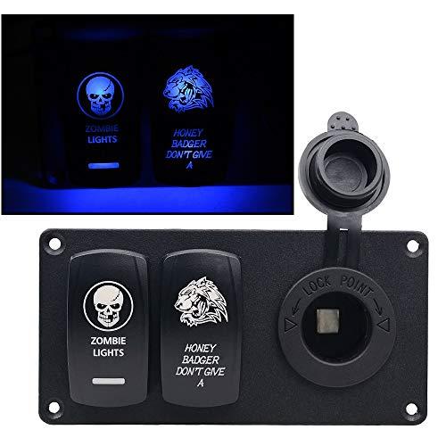 Panel de control 12v Montados en vehículos de placa de aluminio especial Rocker doble interruptor combinado Panel pequeño, conveniente for el panel del interruptor Marítimo general