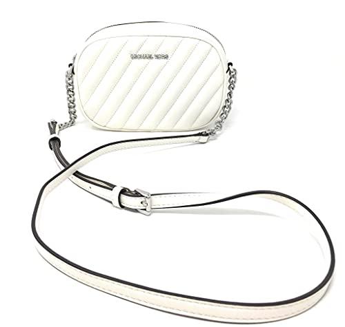 Michael Kors MK Women's Bag Small Oval Crossbody Twill Sheepskin Camera Bag (Optic White)