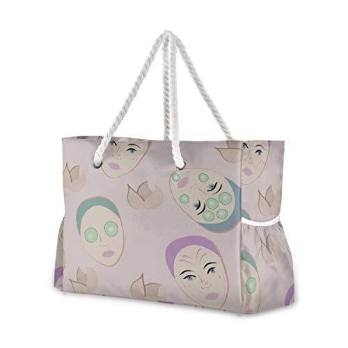 Strandtasche Große Tasche Cartoon Süße Maske Hautpflegeprodukte Strandtasche Reißverschluss Frauen Strandtasche Einkaufstaschen 20,5 x 7,3 x 15 Zoll Reißverschluss mit Baumwollgriff für Picknicks Rei