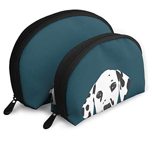 XCNGG Bolsos portátiles con forma de concha con estampado de perro dálmata, bolso de mano, monedero, bolsa de cosméticos, almacenamiento de viaje unisex, bandolera multifunción para niños, estuche par