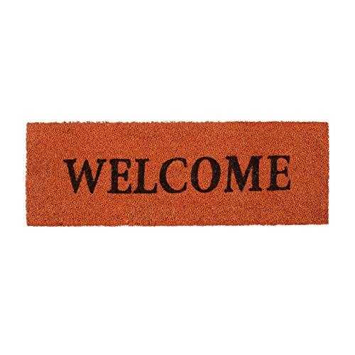 Relaxdays – Felpudo Welcome para la Entrada del hogar, 1.5 x 75 x 25 cm, Fibra de Coco y PVC, Antideslizante, Color Naranja