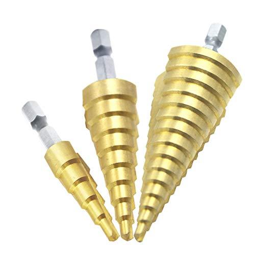 VIAIA Drill bits Set 3pcs 1/4'HSS Titanium Step Drills 4-12mm 4-20mm 4-32mm Cono Tall Herramientas de alimentación