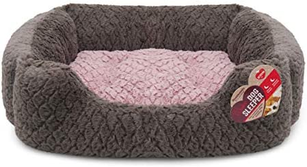 Rosewood Large dog bed for large dogs ,machine washable, super soft and cosy plush dog bed, grey and cream, 71 x 58 x 23cm (approximately 28 x 23 x 9 inch)