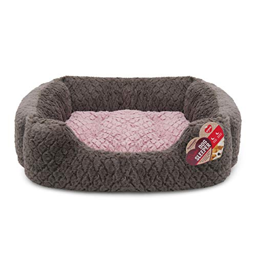 Rosewood Small dog bed for dogs, cats, kittens and puppies ,machine washable, super soft and cosy plush dog bed, grey and pink, 46 x 36 x 15cm (approximately 18 x 14 x 6 inch)