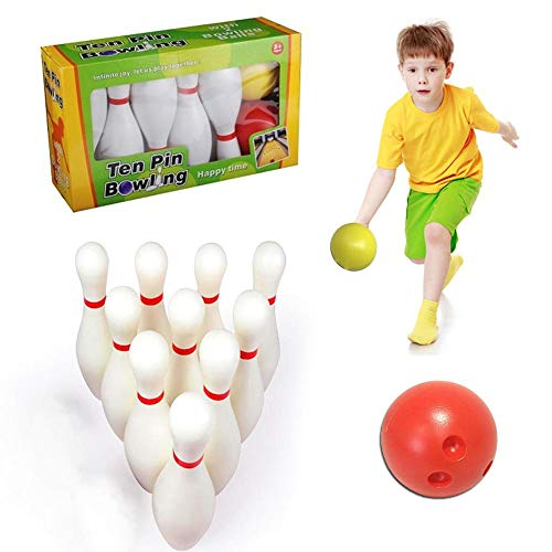 globalqi Kinder Bowling Set, Kegelspiel Spiel, Drinnen Draußen Spielzeug Für Kinder 3 4 5+ Jahre, 10 Stifte 2 Kugeln