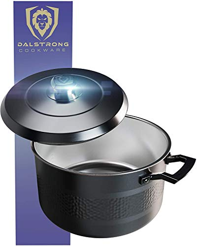 DALSTRONG 7,5L Stock Pot - Premium Cookware - The Avalon Series - 5-Ply Copper Core - Hammered Finish - Black - w/Lid & Pot Protector