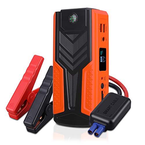 Avviatore Auto Booster Jump Starter Batteria 1200A 12V 18000mAh Multifunzione, AWANFI Avviamento Portatile Motore a Benzina 6.5L e Diesel 5.0L, Caricabatterie 2 Uscite USB Schermo LCD e Torcia LED SOS