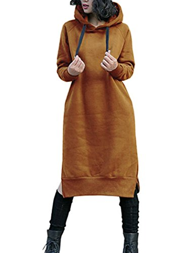 NUTEXROL Women's Thickening Long Fleece Sweatshirt String Hoodie Dress Pullover Plus Size, Medium, Yellow
