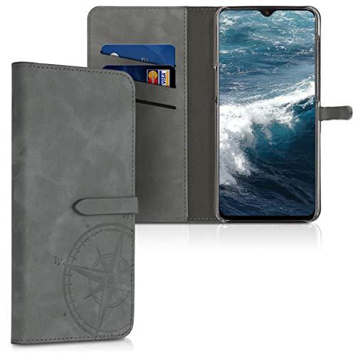 kwmobile Hülle kompatibel mit OnePlus 6T - Kunstleder Wallet Hülle mit Kartenfächern Stand Kompass Vintage Grau