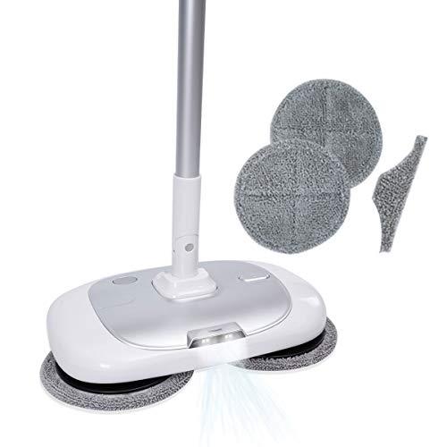 [クリーンPlus+] 電動 モップ クリーナー 替えパッド 6枚 回転モップ コードレス モップ 電動 自動洗浄 【 [便利機能] 水噴射 LEDライト 足踏みスイッチ 】 床掃除 フロアモップ 充電自走式 軽量 水拭き フローリングモップ 掃除機 ハン