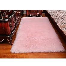 DQMEN Piel de Cordero Oveja/Sheepskin Rug Cordero, imitación mullida Alfombras imitación Piel sintética Deko Piel,para salón Dormitorio baño sofá Silla cojín (Rosa, 60 X 90cm)