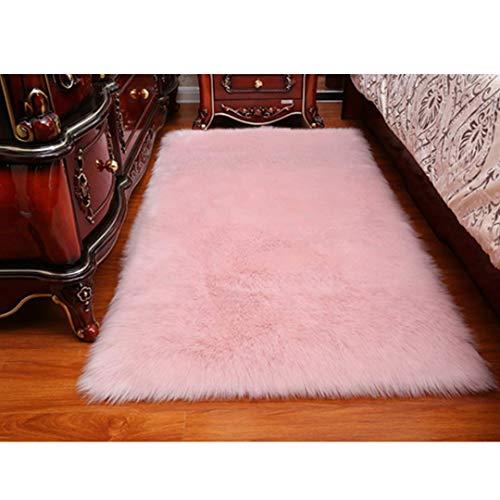 DQMEN Spitzenqualität Lammfellimitat Teppich, Kunstfell Dekofell Lammfellimitat Teppich Longhair Fell Nachahmung Wolle Bettvorleger Sofa Matte (Rosa, 60 X 90cm)