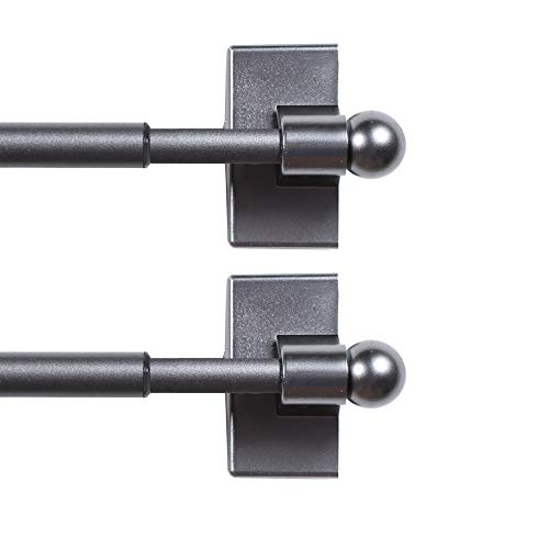 H.VERSAILTEX 2 Pack Magnetic Curtain Rods for Metal Doors Top and Bottom Multi-Use Adjustable Appliances for Iron and Steel Place, Petite Ball Ends, 16 to 28 Inch, 1/2 Inch Diameter, Pewter