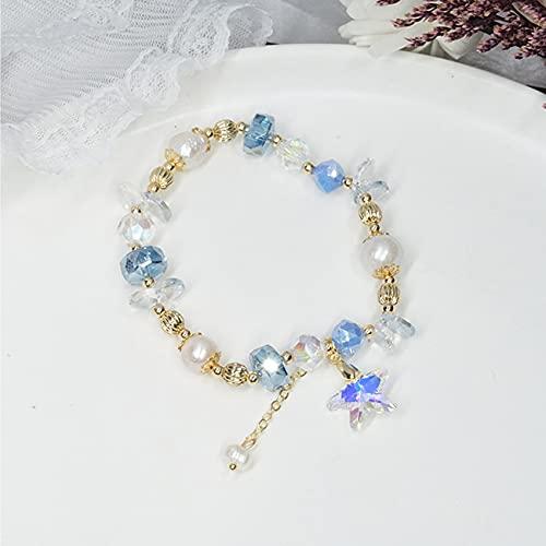 Pulsera de cristal natural para mujeres Esmalte austriaco Pearl Seashell Seashell Hermoso Pulsera Costera Vacaciones CHAKRA MULTI-GEM Hawaiian Jamaican amuleto prosperidad Amor suerte Dinero,Azul