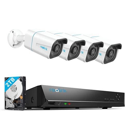 REOLINK H.265 4K PoE Security Camera System, 4pcs Smart 8MP Wired PoE IP Cameras with Person Vehicle Detection, 8MP 8CH NVR with 2TB HDD for 24-7 Recording, RLK8-810B4-A