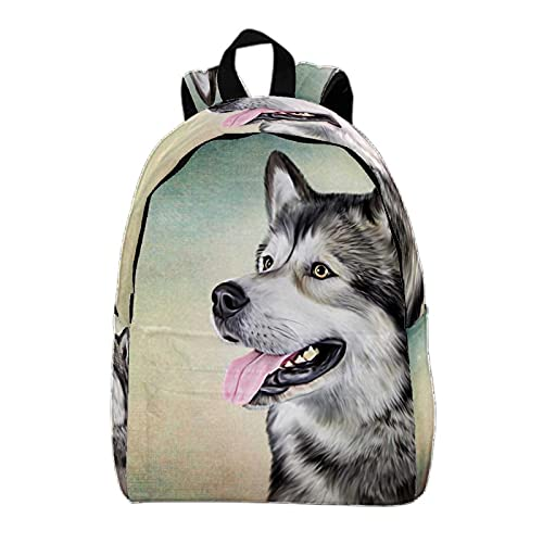Mochila de viaje grande Mochila para portátil retrato de perro alaska Mochila escolar Mochila ligera Mochila de vacaciones