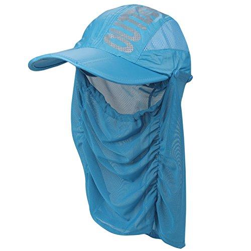 (フレミ) Flammi レディース ランニング キャップ ゴルフ 帽子 フェイスカバー 付き UVカット99% UPF50+ (ブルー)