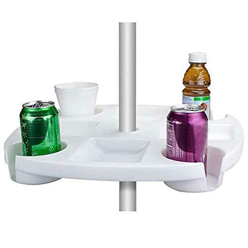 Fanville Sonnenschirm Tisch Tablett mit Geträ Snack Cups für Garten Schwimmbad Sonnenschirm Tisch Halter Regenschirm Bier Getränkehalter