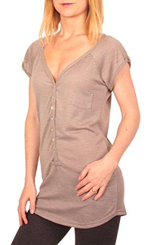 Ella Manue Damen Frauen Button Down Serafino Shirt Louise, Größe: S, Farbe: Grau