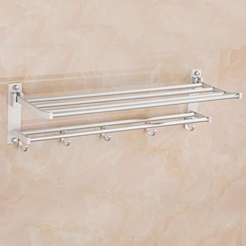 Toalleros de Baño Toallero Barra Toallero Estante de toalla del carril de toalla de aluminio con estante de toalla del doble for el armario montado en la pared de baños (60 cm de largo) Toallero Pared