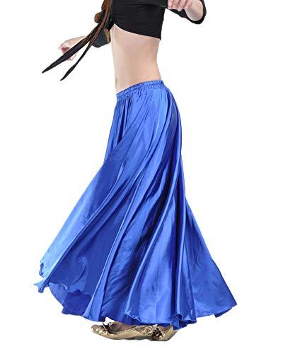 Falda Larga Color Sólido Satén Profesional Danza del Vientre Swing Maxi Ropa Zafiro