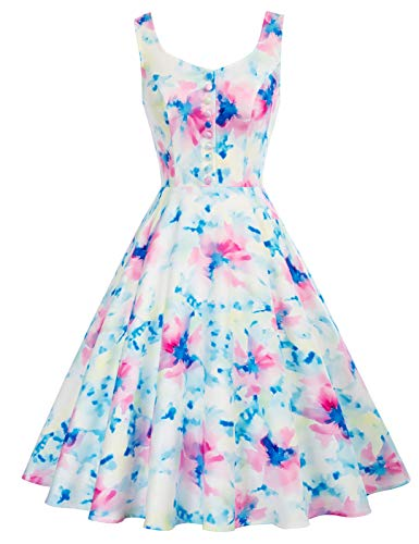 Belle Poque Womens Plus Size Homecoming Dresses 1950s Retro Swing Cocktail Dresses,Tie Dye, X-Large