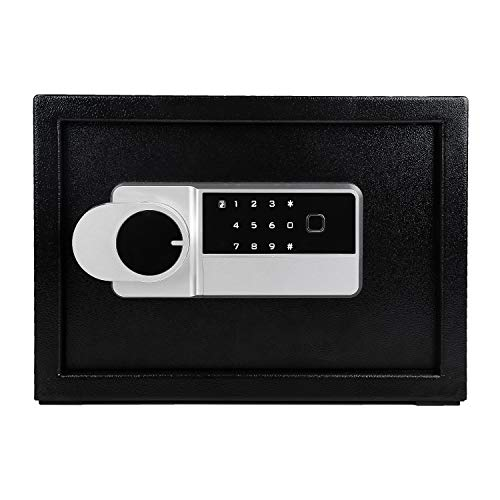 LETTON Security Safe Lock Box Digital and Fingerprint Lock with Key Lock Steel Safe Home Safe for Storing Jewelry Cash Valuables Safe Box Black  138 x 98 x 10 Inches