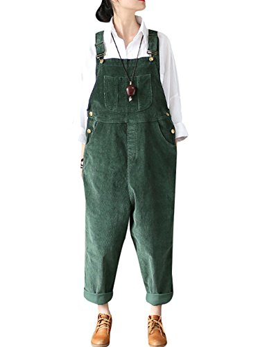 Bigassets Damen Winter Herbst Weinlese Cord Overall Strap Ärmellose Overalls Latzhosen Style 1 Green