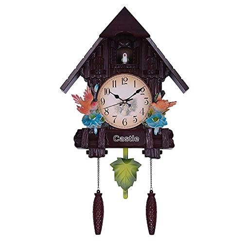 Reloj de Pared de Sala de Estar del Norte de Europa Reloj de periódico Creativo Cuco Decoración del hogar Habitación de los niños Gráficos de Pared de Dibujos Animados Color: Marrón