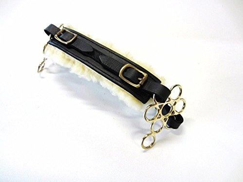 PS Pferdeartikel Set Gebisslose Zäumung Hackamore Flower Gold - Echt Schaffell Farbe Schwarz mit goldenem Beschlag