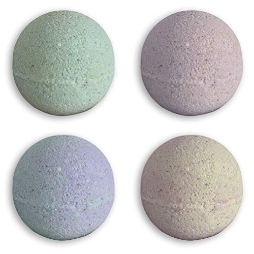 Flosage Eucalyptus, Lavender, Rosemary, 3-in-1-Scent Aroma-Therapeutic Bath Bombs, Natural Oils, Minerals, Skin Moisturizing, Softening, Exfoliating, Collagen Stimulating, XXL ~7 oz, 4-Pack