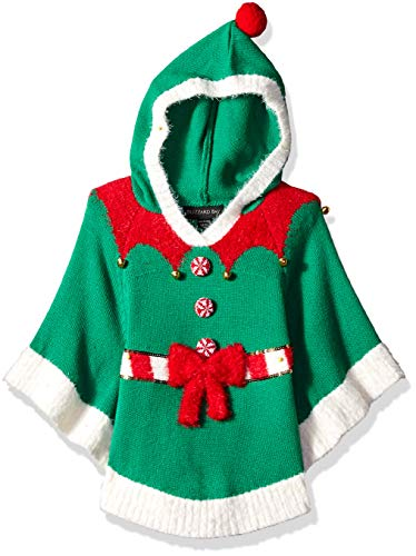 Blizzard Bay Girls Ugly Chrismas Sweater Poncho, Green/red/White/Hoody, 6X